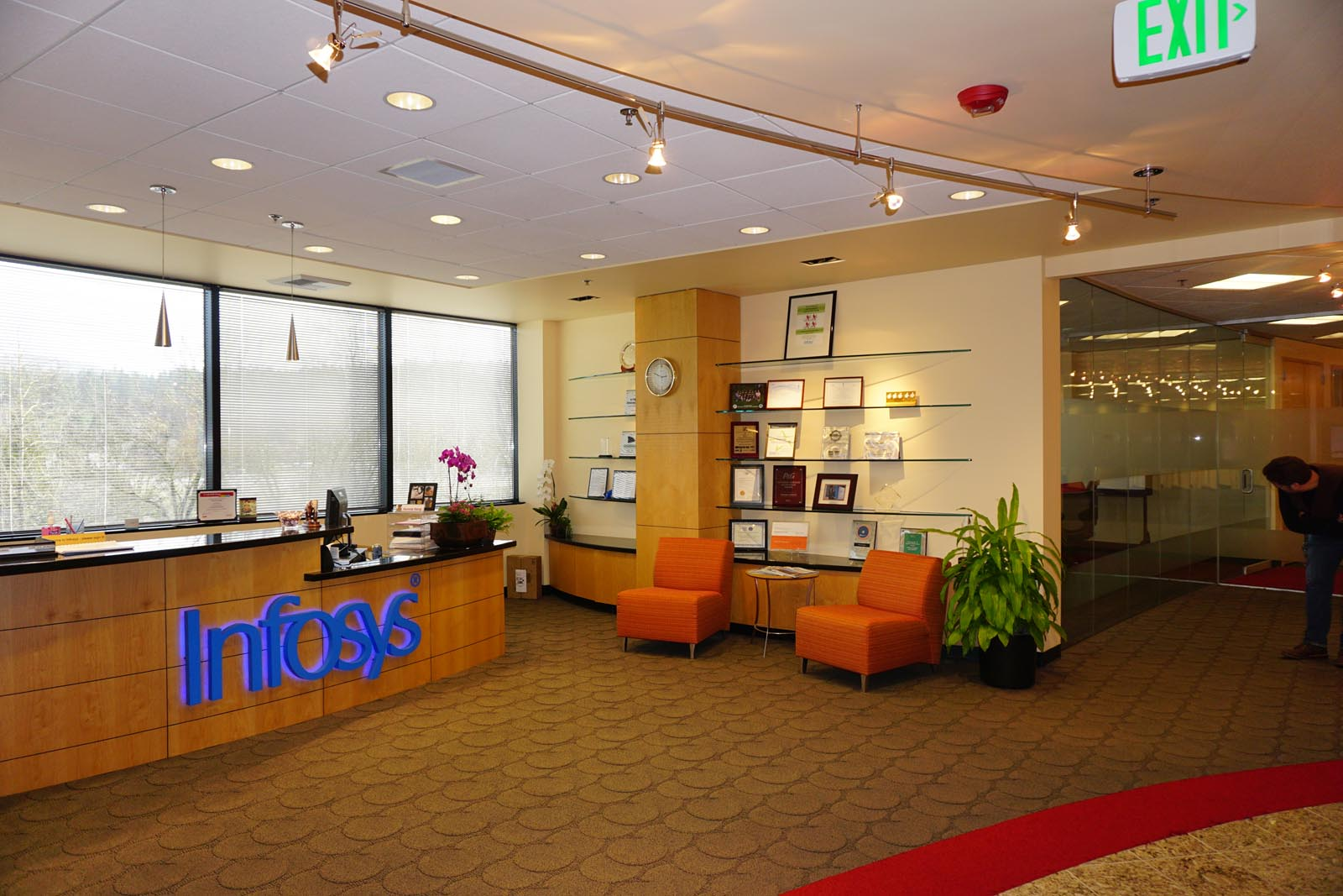 Infosys front desk and overhead lighting