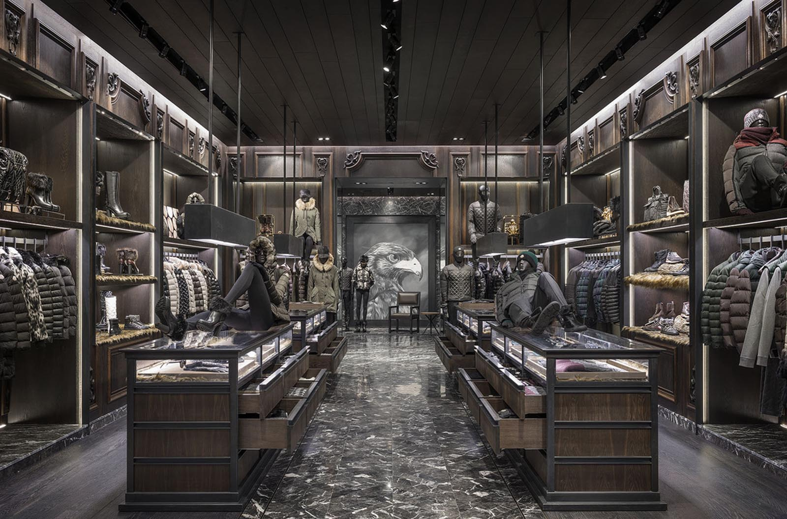 Moncler clothing displays and viewing drawers