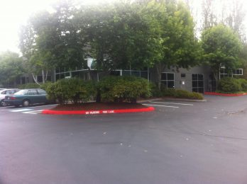 Woodinville Montessori parking lot and trees