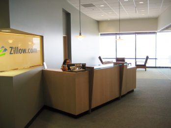 Zillow office interior and front desk